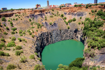 The Big Hole, Open Mine, Kimberley Mine is an open-pit and underground mine in Kimberley, South Africa, and claimed to be the largest hole excavated by hand.