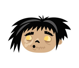 Funny zombie icon in cartoon style
