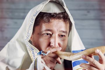 Shofar a tallit jewish religious symbol