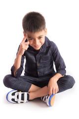 Children fashion, little boy on nice blue shirt on white background