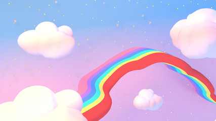 3d rendering picture of cartoon rainbow road in the sky.