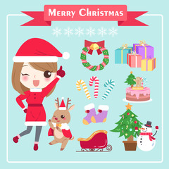 cartoon woman with christmas