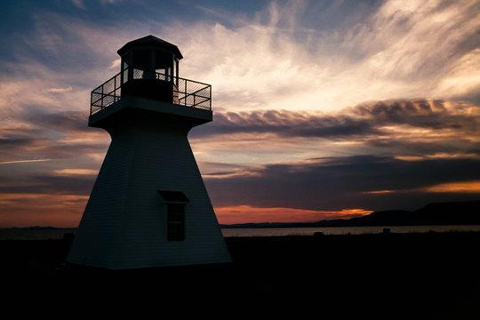 Carleton Sur Mer Lightouse in silhouette