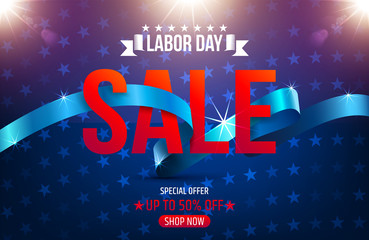 Labor Day Sale promotion advertising banner template.Vector illustration.