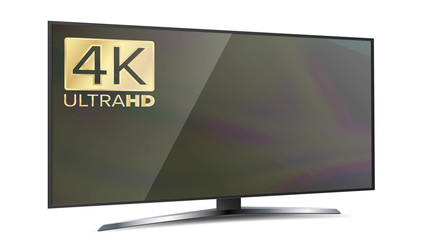 4K Screen Resolution Smart TV. Ultra HD Monitor Isolated On White Illustration