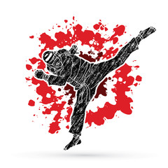 Taekwondo jump kick action with guard equipment designed on splatter blood background graphic vector.