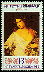 """Painting """"Flora"""" by Titian on postage stamp"""