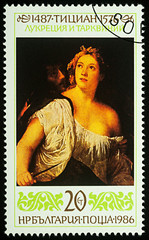"""Painting """"Lucretia and Tarquin"""" by Titian on postage stamp"""