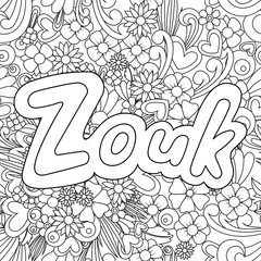 Zouk Zen Tangle. Doodle background with flowers and text for the partner dancing.