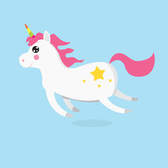White Cute magic unicorns character. Vector illustration.