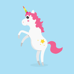 White Cute magic unicorns character. Vector illustration.