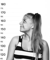 Young beautiful blonde woman Criminal Mug Shots. black and white
