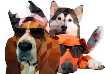 三角ポリゴンのサングラスをかけた犬