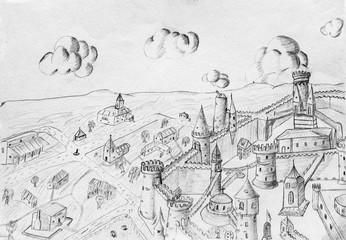 Pencil drawing, sketch
