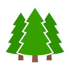 Three conifer pine trees in a forest or park simple vector color icon for nature apps and websites