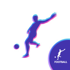 Football player with ball. Sports concept. Design Element. Vector Illustration. Sport Symbol.