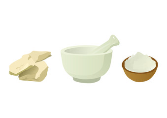 Fuller's Earth with Mortar and Pestle
