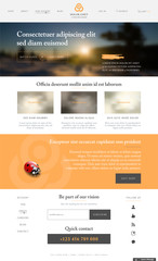 Website template in modern design with sample text