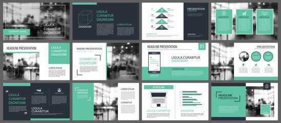 Green presentation templates and infographics elements background. Use for business annual report, flyer, corporate marketing, leaflet, advertising, brochure, modern style. Wall mural