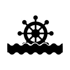 boat timon with sea waves vector illustration design