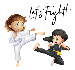 Word expression for let's fight with two girls fighting