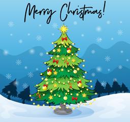 Merry Christmas card template with christmas tree