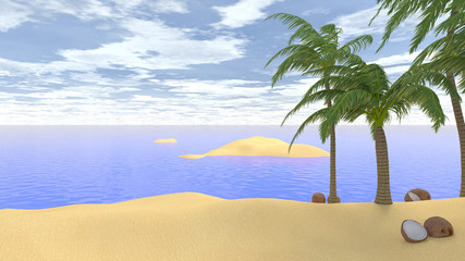 sandy beach in tropical island 3d illustration