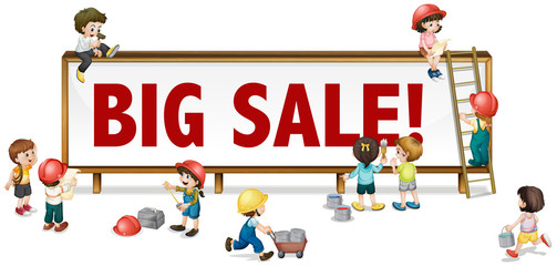 Big sale sign with little children in background