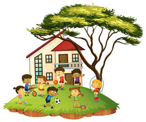 Scene with children play at home