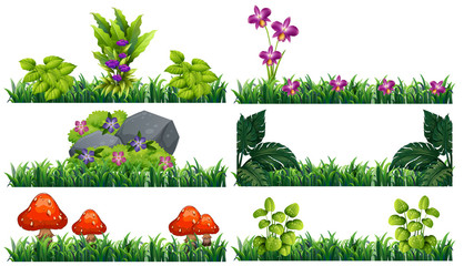 Seamless background with flowers in garden