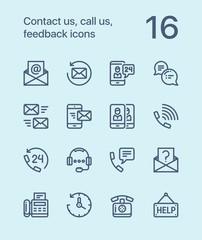Outline Contact us, call us, feedback icons for web and mobile design pack 2