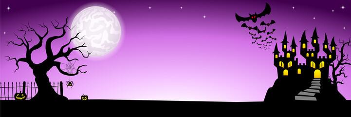 Banner mit Spukschloss in einer Vollmondnacht
