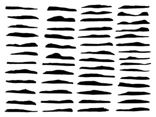 Vector set of different brushes. Black paintbrush lines