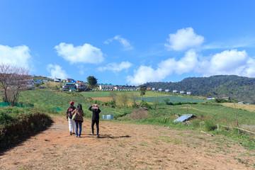Tourists admiring the beautiful scenery on Phu Tubberk.