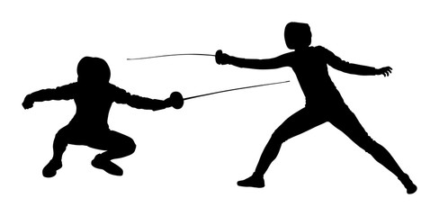 Fencing player portrait vector silhouette illustration isolated on white background. Fencing duel competition event. Sword fighting. Swordplay duel black shadow.Quick move game. Athlete man art figure