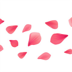 Petals Roses Flowers. Red Sakura flying petals isolated on White background. Vector