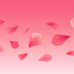 Petals Roses Flowers. Red Sakura flying petals isolated on Pink gradient background. Vector