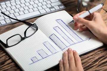 Businessperson Drawing Graph On Notebook