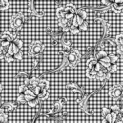Modèle sans couture à carreaux en tissu éclectique avec ornement baroque.