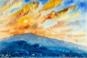 Watercolor landscape original painting colorful of mountain