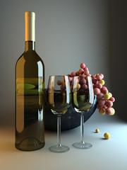 Weinflasche mit Weintrauben 3D illustration