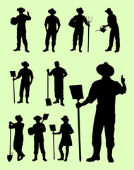 Farmer gesture silhouette. Good use for symbol, logo, web icon, mascot, sign, or any design you want.
