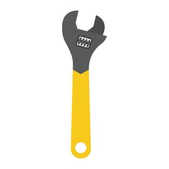 Adjustable wrench flat icon, build and repair, spanner sign vector graphics, a colorful solid pattern on a white background, eps 10.