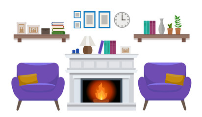 Cozy interior of an elegant living room with two armchair, a fireplace, and various decorations. Flat style vector design template