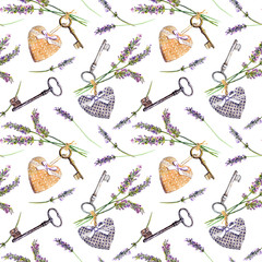 Provencal background - lavender flowers, old keys, textile hearts. Seamless pattern, rural style of Provence. Watercolor