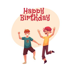 Happy birthday vector greeting card, poster, banner design with Two funny boys, kids having fun, dancing at party. Happy boys dancing, jumping at a kids, birthday party, having fun