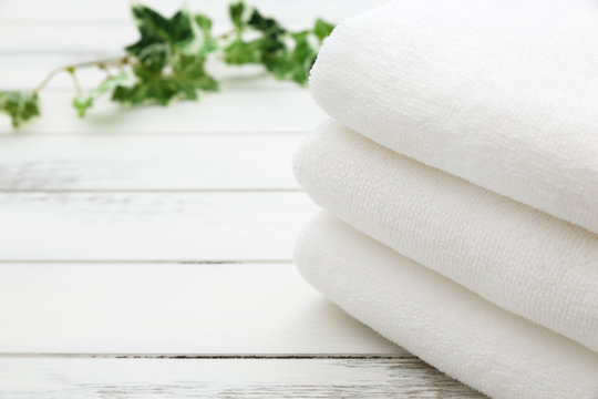 White Spa and Bath Image - Stacked Towels
