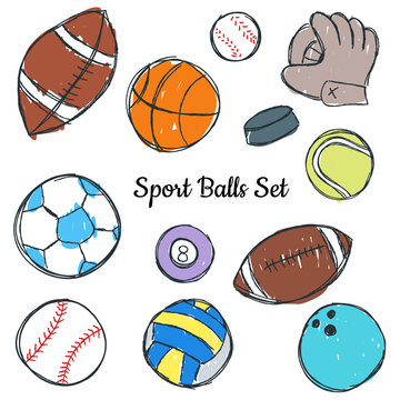 Sport ball doodle set