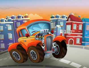 happy cartoon hot rod driving through the city - illustration for children