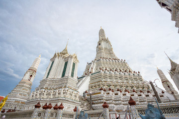 Wat Arun temple in Bangkok , Thailand 2017 / The famous temple in Bangkok ,Thailand. Renovated in 2017.